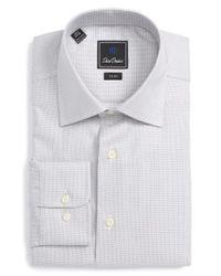 David Donahue | Gray Trim Fit Check Dress Shirt for Men | Lyst