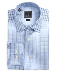 David Donahue | Blue Trim Fit Check Dress Shirt for Men | Lyst