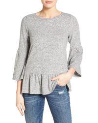 Gibson | Gray Cozy Fleece Peplum Top | Lyst