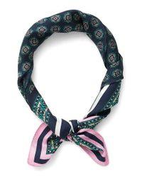 J.Crew | Blue Issac Foulard Print Italian Silk Scarf | Lyst