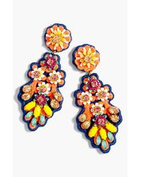 J.Crew - Orange Embroidered Crystal Earrings - Lyst