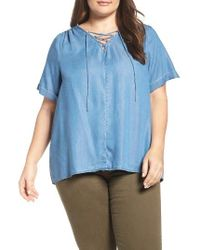 Lucky Brand | Blue Lace-up Chambray Top | Lyst