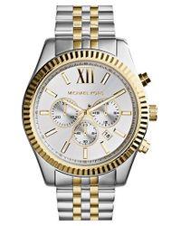 MICHAEL Michael Kors | Metallic Michael Kors Large Lexington Chronograph Bracelet Watch | Lyst
