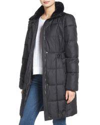 Lauren by Ralph Lauren   Black Faux Fur Trim Side Tab Quilted Coat   Lyst