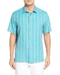 Tommy Bahama | Blue Zaldera Stripe Silk Camp Shirt for Men | Lyst