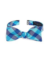 Ted Baker | Blue Derby Check Silk Bow Tie for Men | Lyst