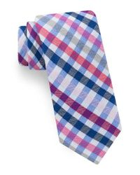 Ted Baker | Blue Circus Check Cotton & Silk Tie for Men | Lyst
