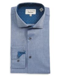 Ted Baker | Blue Rafi Trim Fit Geometric Dress Shirt for Men | Lyst