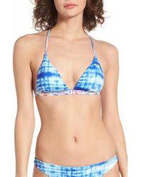 Roxy - Blue Strappy Love Reversible Triangle Bikini Top - Lyst