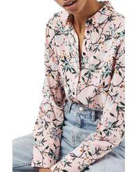 TOPSHOP   Pink Cherry Blossom Shirt   Lyst
