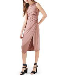 TOPSHOP | Pink Slinky Midi Dress | Lyst