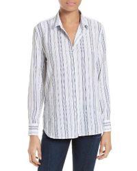 Equipment   Blue Leema Stripe Silk Shirt   Lyst