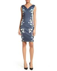 Ted Baker | Blue Katiey Placed Print Sheath Dress | Lyst