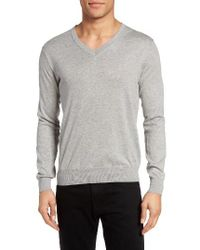 Gant | Gray Lightweight V-neck Sweater for Men | Lyst