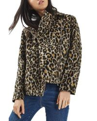 TOPSHOP | Multicolor Leopard Print Biker Jacket | Lyst