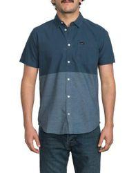 RVCA | Blue Big Block Woven Shirt for Men | Lyst