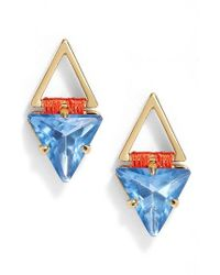 Rebecca Minkoff | Blue Geo Stud Earrings | Lyst