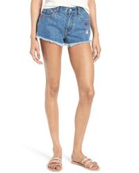 Vigoss - Blue Jagger Frayed Cutoff Denim Shorts - Lyst