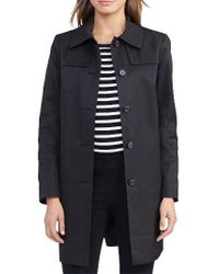 Lauren by Ralph Lauren | Black Cotton Blend Trench Coat | Lyst