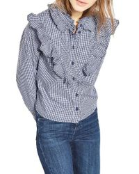 TOPSHOP   Blue Moto Ruffle Gingham Shirt   Lyst