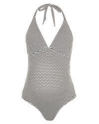 TOPSHOP | Black Zigzag Halter One-piece Maternity Swimsuit | Lyst