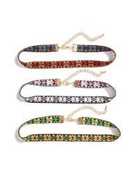 Cara - Multicolor Set Of Three Choker Necklaces - Lyst