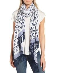Tory Burch | Blue Whale Tail Oblong Scarf | Lyst