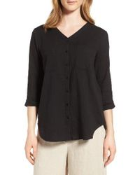 Eileen Fisher - Black Organic Cotton Blouse - Lyst