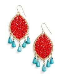 Panacea | Orange Beaded Drop Earrings | Lyst