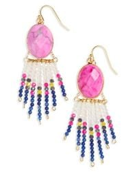 Panacea | Pink Beaded Fringe Drop Earrings | Lyst