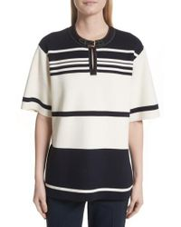 Tory Burch - Yellow Krista Suede Trim Stripe Sweater - Lyst