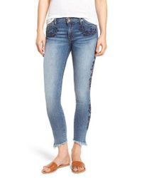Band Of Gypsies | Blue Lola Embroidered Ankle Jeans | Lyst