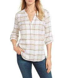 NYDJ - Multicolor Plaid Twill Henley Blouse - Lyst