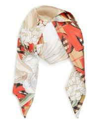 Burberry - Metallic Floral Text Archive Silk Skinny Scarf - Lyst