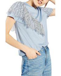 TOPSHOP | Blue Lace Ruffle Tee | Lyst