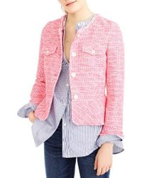 J.Crew | Pink Tweed Peplum Lady Jacket | Lyst
