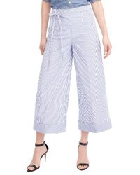 J.Crew | Blue Stripe Wide Leg Crop Pants | Lyst