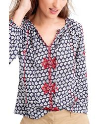 J.Crew | Blue Embroidered Tie Neck Print Voile Top | Lyst