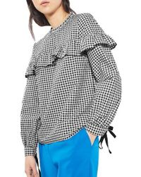TOPSHOP | Black Pixie Ruffle Gingham Top | Lyst