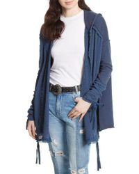 Free People | Blue Get Yer Gauze Hooded Cotton Cardigan | Lyst