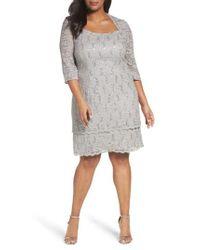 Alex Evenings | Gray Scallop Edge Sequin Lace Shift Dress | Lyst