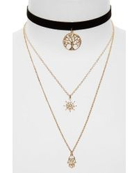 TOPSHOP | Metallic Tree Of Life Layer Necklace | Lyst