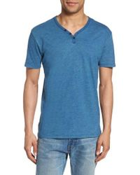 Lucky Brand | Blue Y-neck Henley T-shirt for Men | Lyst