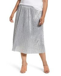 7fa5fd6b52 Lyst - Vince Camuto Crushed Foil Pleated Skirt in Metallic