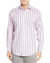 Thomas Dean   Pink Classic Fit Stripe Check Sport Shirt for Men   Lyst