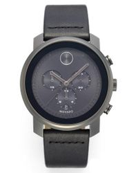 Movado | Black Bold Chronograph Leather Strap Watch for Men | Lyst