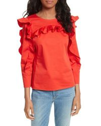Rebecca Taylor - Red Ruffle Stretch Cotton Blouse - Lyst