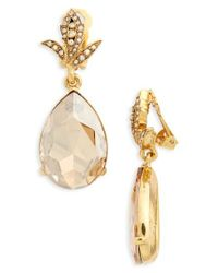 Oscar de la Renta - Metallic Crystal Teardrop Clip Earrings - Lyst