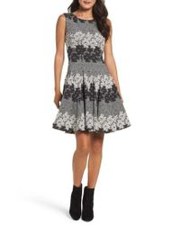 Eliza J | Gray Jacquard Fit & Flare Dress | Lyst