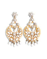 J.Crew | White Floral Chandelier Earrings | Lyst